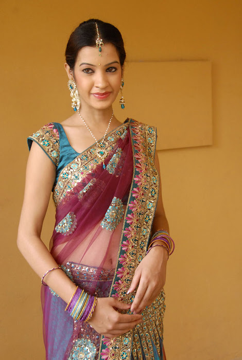 diksha panth new saree , diksha saree cute stills