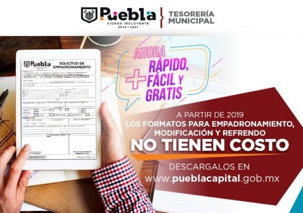 AYUNTAMIENTO DE PUEBLA OFRECE SIN COSTO LOS FORMATOS PARA TRÁMITES DE LICENCIAS DE FUNCIONAMIENTO.
