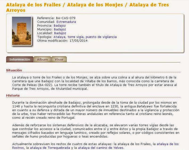 CastillosNet: Atalaya de los Frailes (Badajoz)