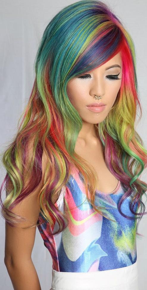 rainbow hair cabelos coloridos arco-iris