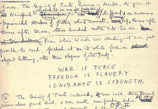 Immagine degli appunti di George Orwell. vanillasnotes
