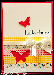Ways to use your Washi Tape - Gingham Garden Washi Tape Butterfly Card by UK based Stampin' Up! Demonstrator Bekka Prideaux
