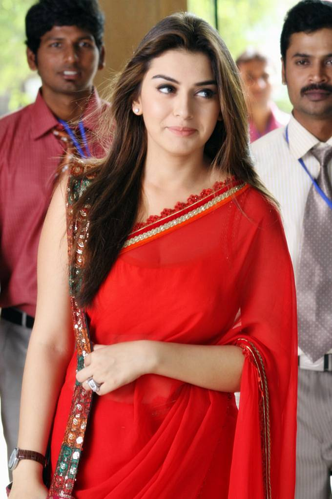 Hansika In Red Saree