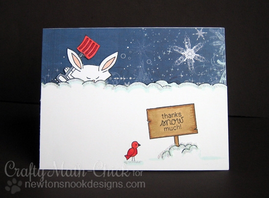Thanks Snow Much Card by Crafty Math Chick | Winter Tails Stamp set by Newton's Nook Designs #newtonsnook