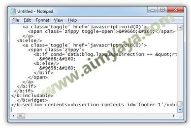 Gambar: Menyalin kode HTML template blog ke Notepad (membuat backup code)
