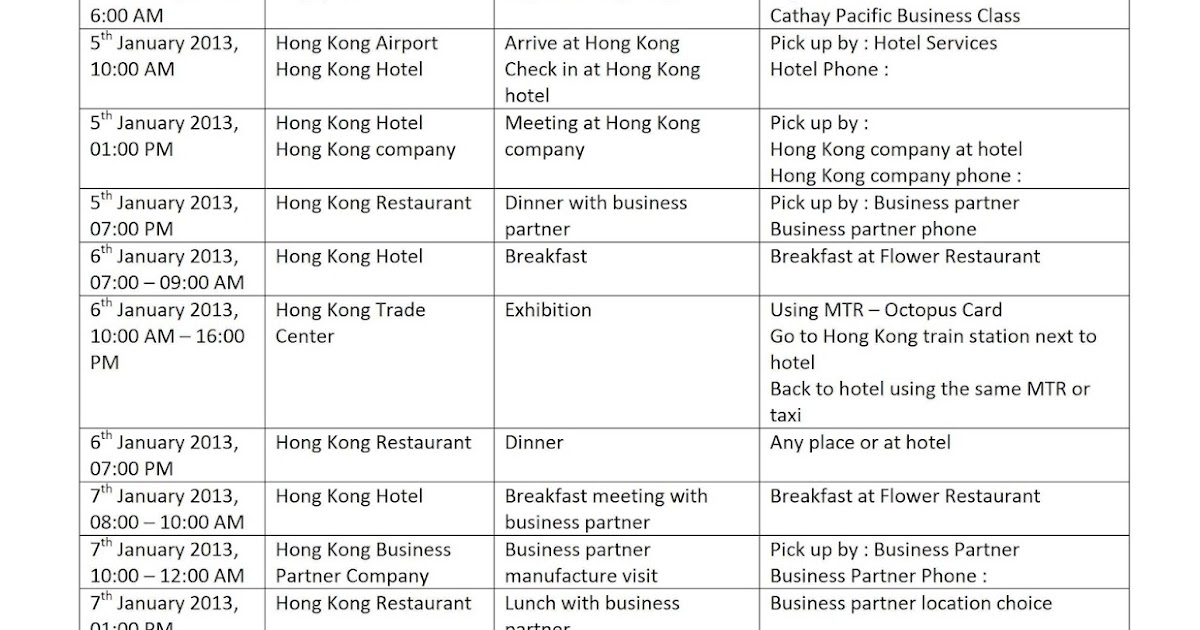 Business Travel Itinerary Template Business Letter Template