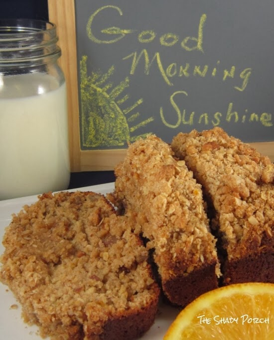 Slices of Crumb Top Banana-Orange Bread...perfect for Breakfast, snack or dessert!