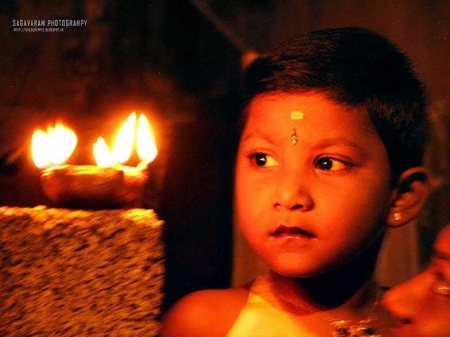Diwali Lamp with Kid