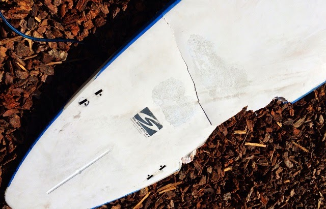 Beau Browning surfboard following great white shark attack in Manresa State Beach Santa Cruz