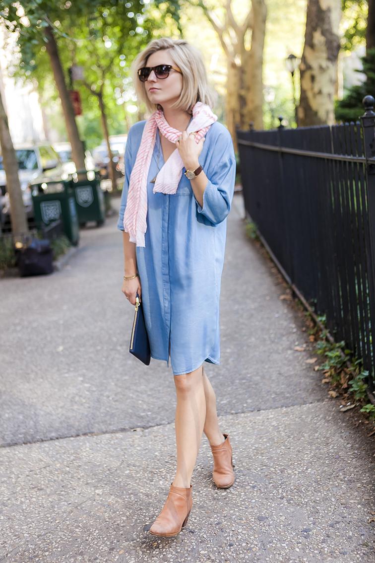 Oversized chambray shirt, Rachel Comey Mars boots, Brika coral Arashi Shibori scarf, late summer style