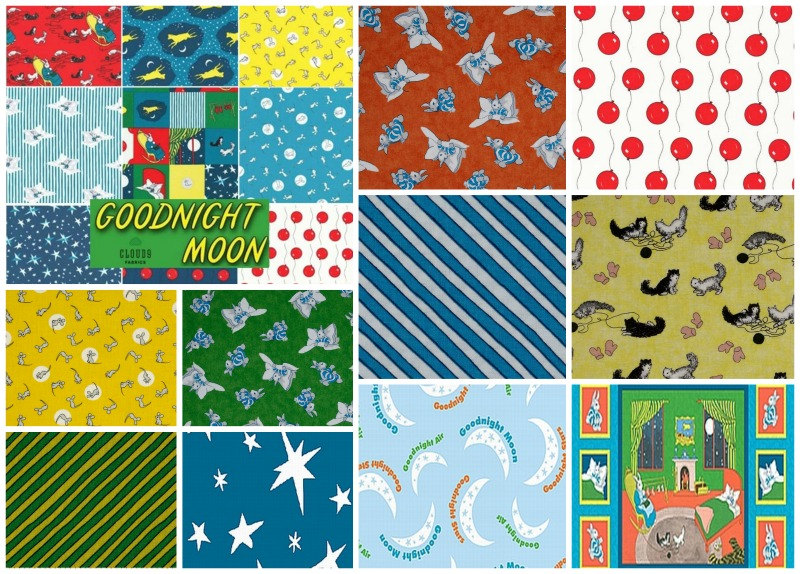 Goodnight Moon BTY Quilting Treasures Bunny Black White Cat Pink Mitten on Blue