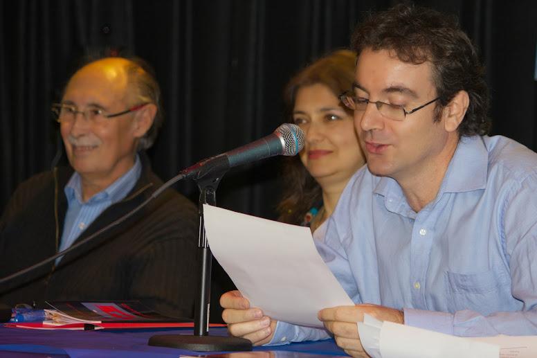 Feria del Libro Hispano Latina de Nueva York / José Oquendo /Juan navidad  junto a los escritores Lidio Mosca Bustamante y Linda Morales Caballero