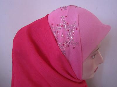 tudung bawal 2 tone kristal crown pink