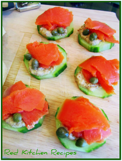 Red kitchen recipes smoked salmon cucumber canapes for Salmon canape ideas