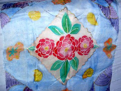 pañuelo de seda pintado a mano,  foular pintado a mano