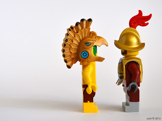lego aztec warrior and conquistador