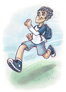Danny Moore Illustrator Blue Guy Running Illustration