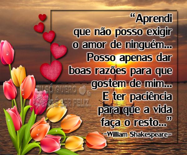 """""""Aprendi que não posso exigir o amor de ninguém... Posso apenas dar boas razões para que gostem de mim... E ter paciência para que a vida faça o resto..."""" -William Shakespeare-"""