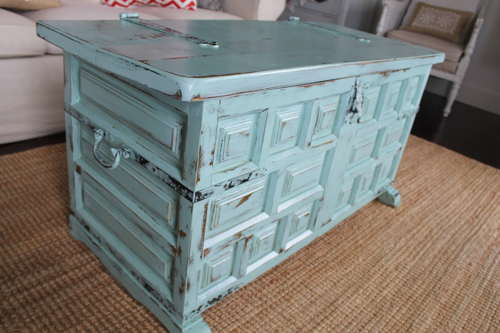 Whimsical treasures teal trunk for Teal coffee table