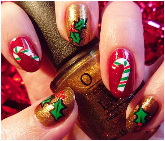 Bonitos modelos de uñas navideñas