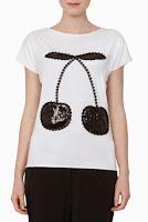 Tricou alb din bumbac cu imprimeu cirese negre model DonaKyrosBP1014 (Ama Fashion)