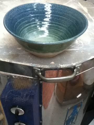 Handmade Blue and Green serving bowl by Future Relics Pottery