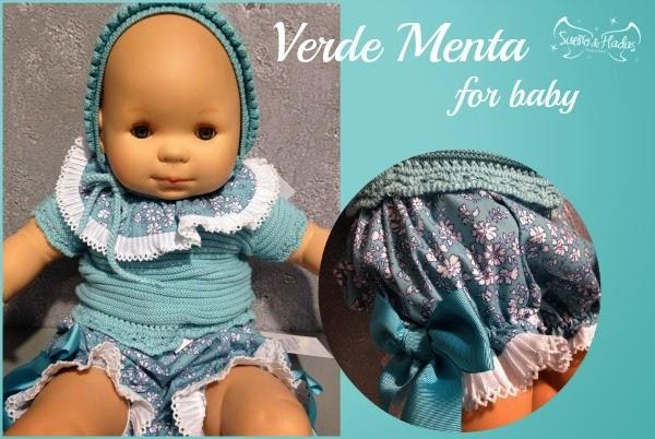 Verde Menta-Ropa de punto para bebe de Carmen Taberner