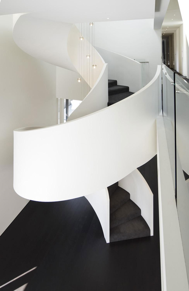 Spiral black and white stairs