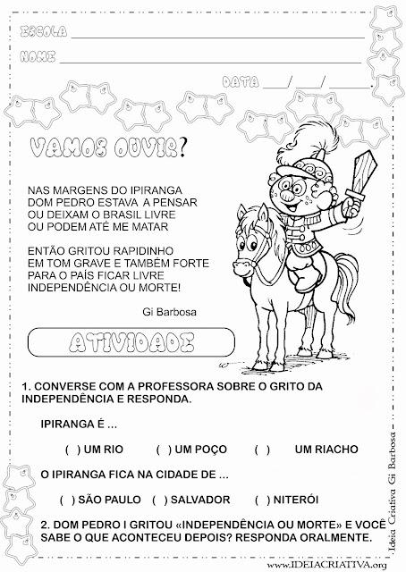 Atividade Independência do Brasil 7 de Setembro com textinho