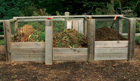 ... for building a wood and wire three bin turning compost bin