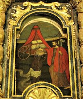 Detalhe do retábulo do altar na nova igreja da Redução Jesuítica de Santiago, Paraguai