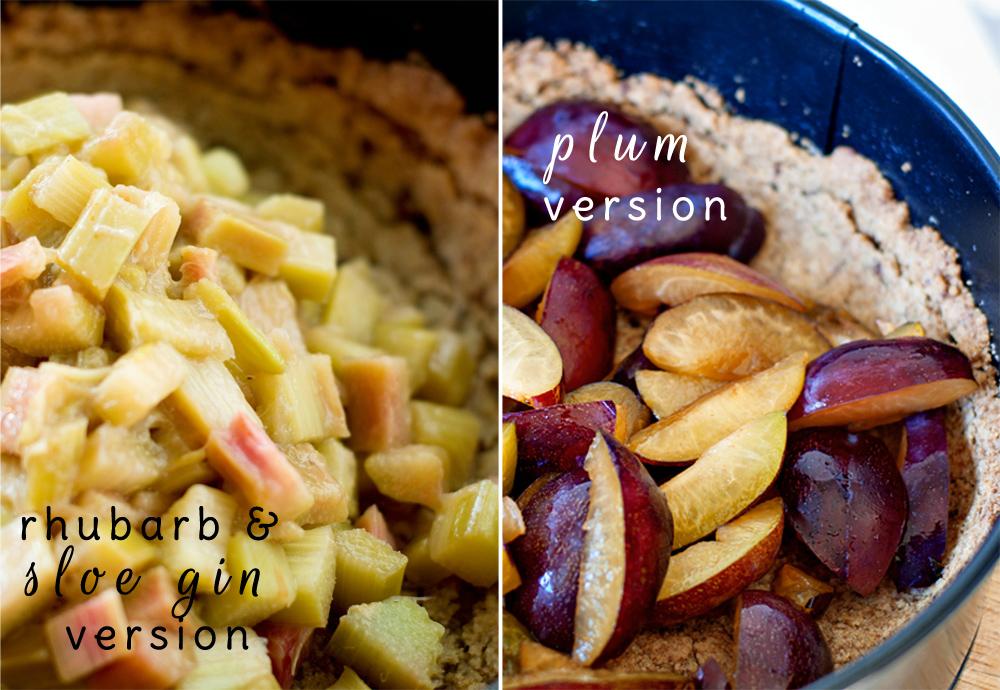 rhubarb & sloe gin tart filling and plum tart filling