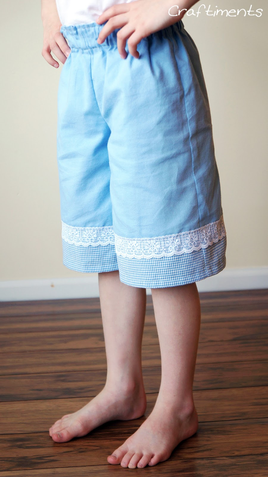 Craftiments:  Girls gauchos made with fabric repurposed from Daddy's dress shirt
