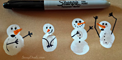 christmas fingerprint snowmen craft for kids
