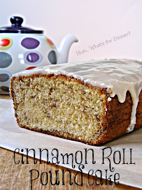 Featured Recipe | Cinnamon Roll Pound Cake from Hun... What's For Dinner? #recipe #cake #poundcake #cinnamonroll #SecretRecipeClub