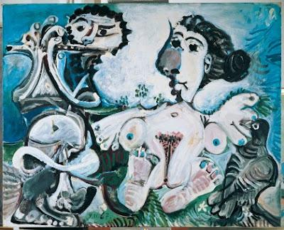 Pablo Picasso  - Femme nue avec oiseau et joueur de flute,1967