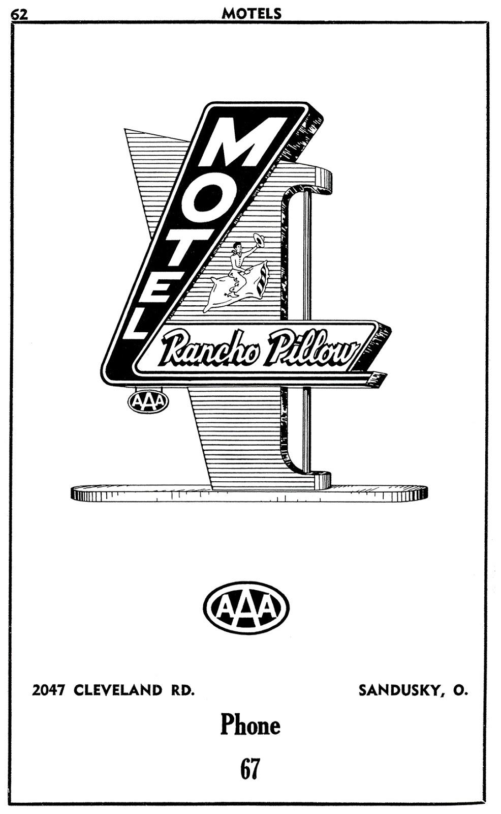 Rancho Pillow Motel - 2047 Cleveland Road, Sandusky, Ohio U.S.A. - 1955