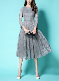 New 2016 Gray/Red Three Quarter Sleeve Fern Lace Flare Dress