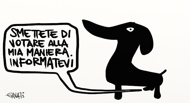 gava gavavenezia satira caricature cane cazzo votare italia voto