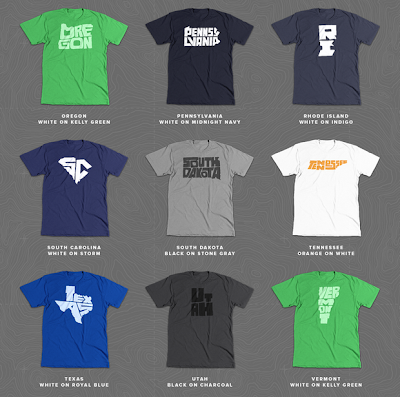 Stately Type kickstarter t-shirts