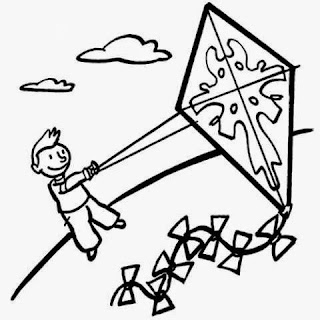 Colorear niño volando su cometa