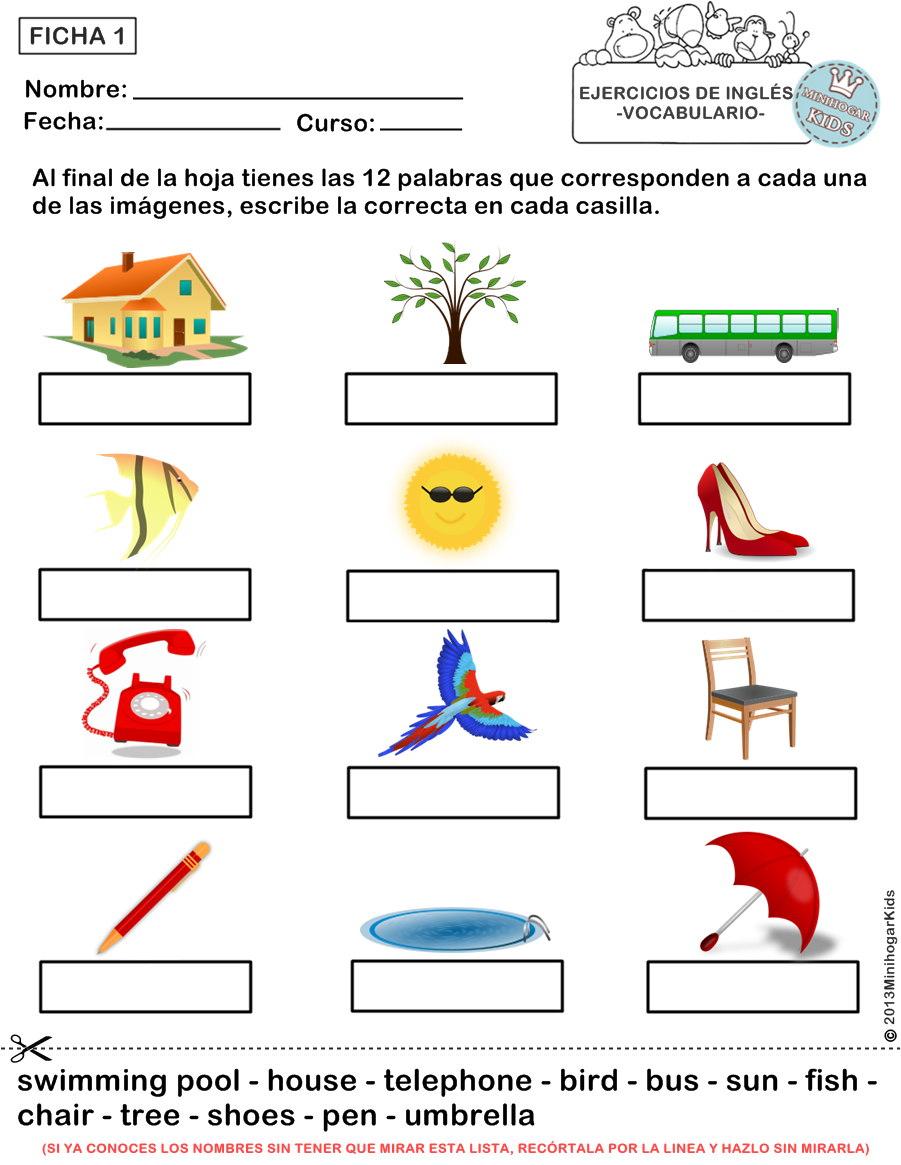 Stunning Actividades De Ingles Para Niños De Cuarto De Primaria ...