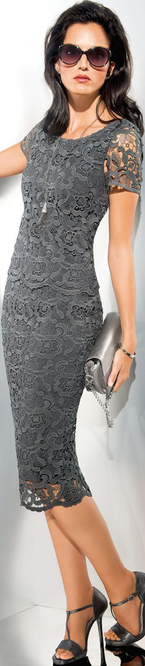 Madeleine Lace Dark Grey Lace Skirt