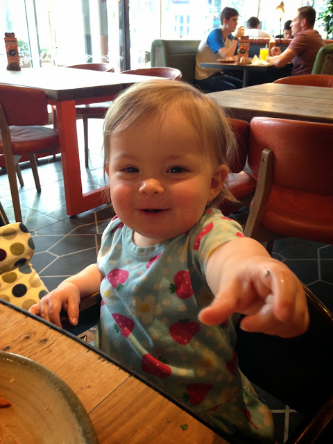 Sophie being cheeky and eating her Nandos