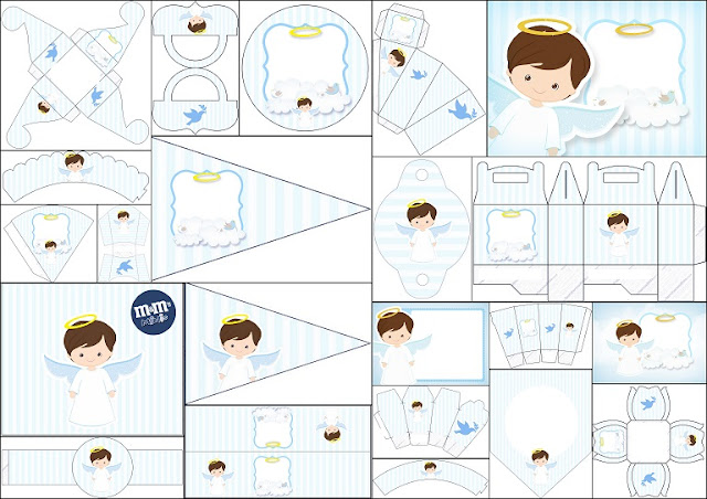 Free Printable Kit with Angel Design in Light Blue.