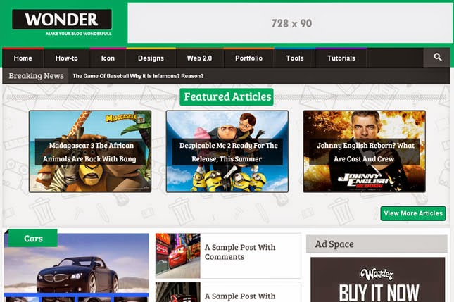 Wonder Responsive Blogger Template
