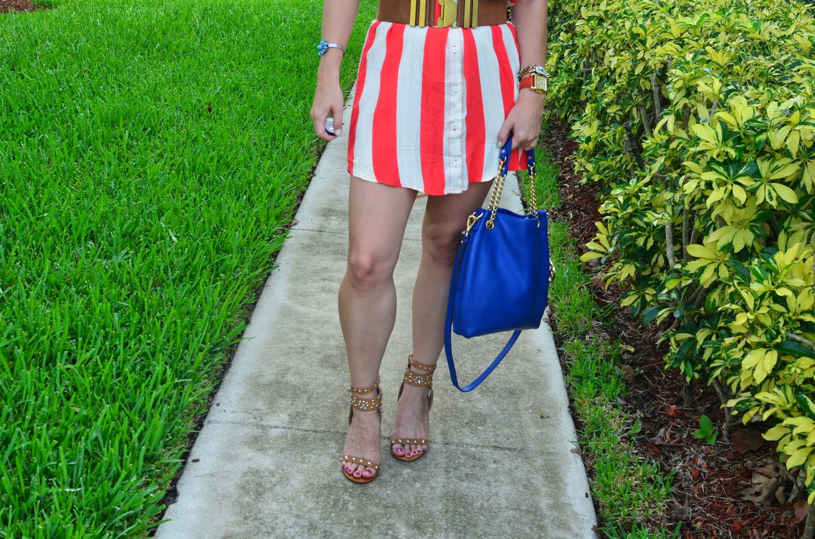 Shirt dress - Michael Kors bag - studded sandals - Steve Madden belt