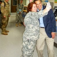 I Love NY !  Andy Gets a Hug from a Soldier