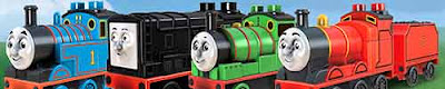Kids Day at the Dieselworks play brick Mega Bloks Thomas the tank engine and Percy the train toy set