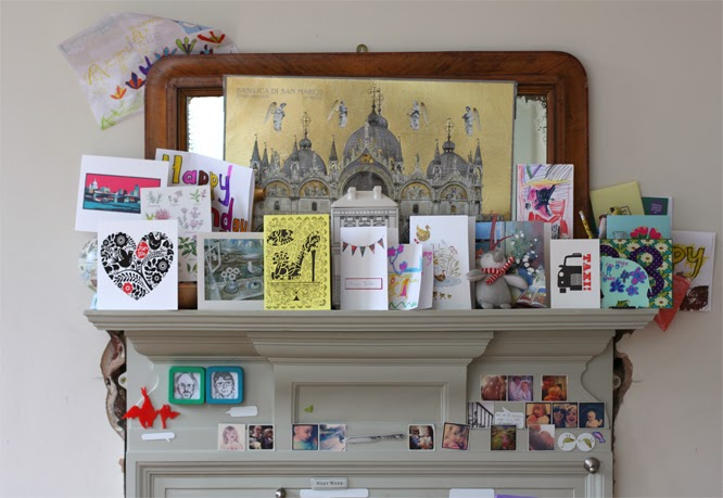The Kitchen mantlepiece with my birthday cards and a new advent calender